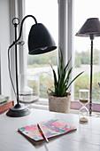 Vintage-style lamp on desk next to window