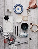 Various kitchen accessories on rustic boards