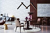 Round table on round carpet with designer lamp in the living room