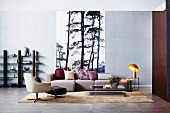 Straight living room, photo wallpaper with tree motif