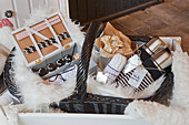 Basket packed for winter picnic