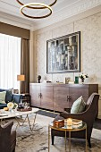 Glamorous living room in shades of brown