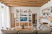 Masonry TV cabinet in Mediterranean living room