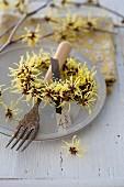 Wreath of witch hazel flowers (Hamamelis) decorating set table