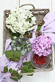 Hydrangeas, poppy seedheads and berries on wicker tray