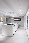 White island counter in designer kitchen