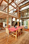 Rustic, modern converted barn with gallery