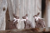 Three chocolate bunnies with pink ribbons