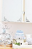 Crocheted rag-yarn lampshade and baskets