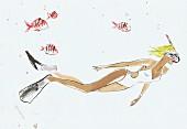 Junge Frau schnorchelt unter Wasser