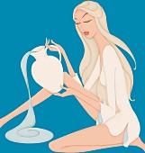 Schöne Frau mit Wasser als Wassermann-Sternzeichen
