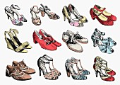 Rows of pairs of women s shoes