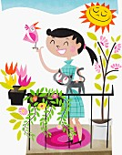 Happy woman on sunny balcony with window boxes, cat and bird perched on finger