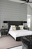 Glamorous bedroom in grey, black and white