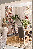 Round table and grey upholstered chairs in elegant dining room