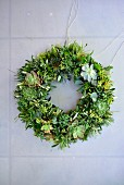 Wreath made from leaves and succulents