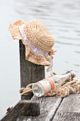 Crocheted raffia summer hat