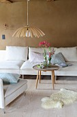 Lampshade made from wood veneer in living room in natural shades