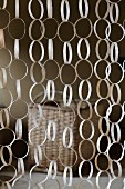 Curtain made from rings of wood veneer
