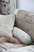 Cushions and bolster made from old flour sacks