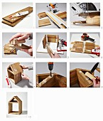 Instructions for making a house-shaped ornament shelf