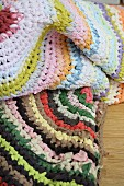 Crocheted rugs made from recycled T-shirt yarn