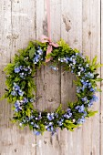Spring wreath of box and forget-me-nots on board wall