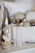 Arrangement of vintage Christmas decorations