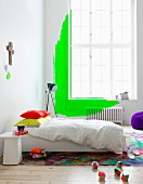 White bedroom with neon green details