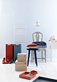 Various storage containers, valet stand and upholstered chair