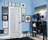 Gallery of antique pictures around vintage interior door