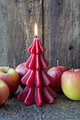Tannenbaumkerze mit Äpfeln