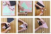 Instructions for making mouse-shaped dusters hand-sewn from fleece and cotton fabrics