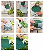 Instructions for making an autumnal flower arrangement in cake tin