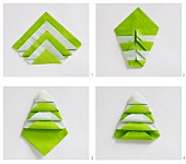 Instructions for folding white and green paper serviettes into Christmas trees