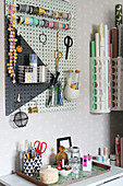 DIY organiser made from painted perforated board