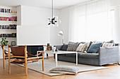 Vintage, Scandinavian-style furniture in living room