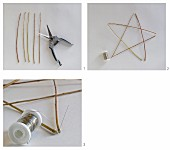 Instructions for making a star from willow branches and silver wire