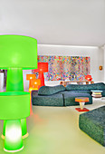 Large colourful standard lamps in artistic living room
