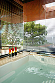 Louvre blinds on glass walls screening whirlpool