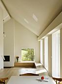 Minimalist interior on several levels