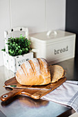 Bread with knife on wooden board, herb pot and bread box in background