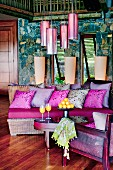 Lounge in modern Colonial style with hot-pink accents