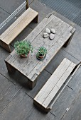 Top view of garden table and benches made from reclaimed wood
