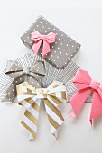 Origami bows of various colours