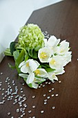 Bouquet of white flowers and glass gems