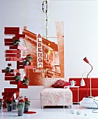 Creative ideas in living room in shades of red