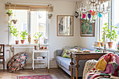 Colourful, vintage-style living room