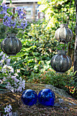 Candle lanterns in garden