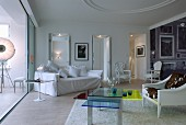 Eclectic mixture of modern and Baroque elements in living room